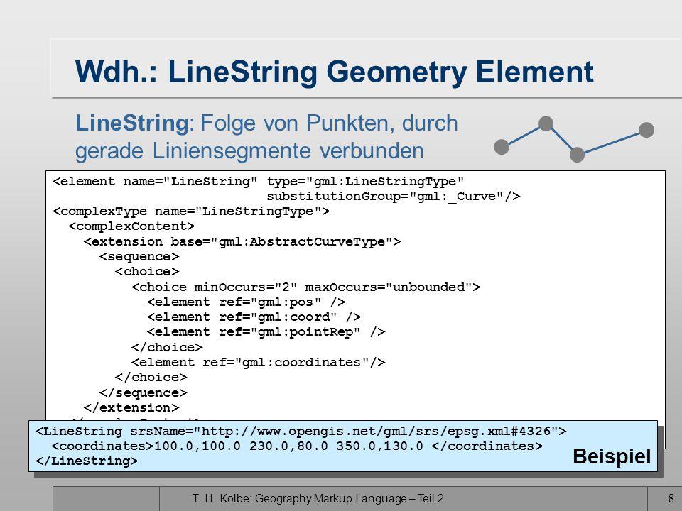T. H. Kolbe: Geography Markup Language – Teil 2 8 Wdh.: LineString Geometry Element LineString: Folge von Punkten, durch gerade Liniensegmente verbund