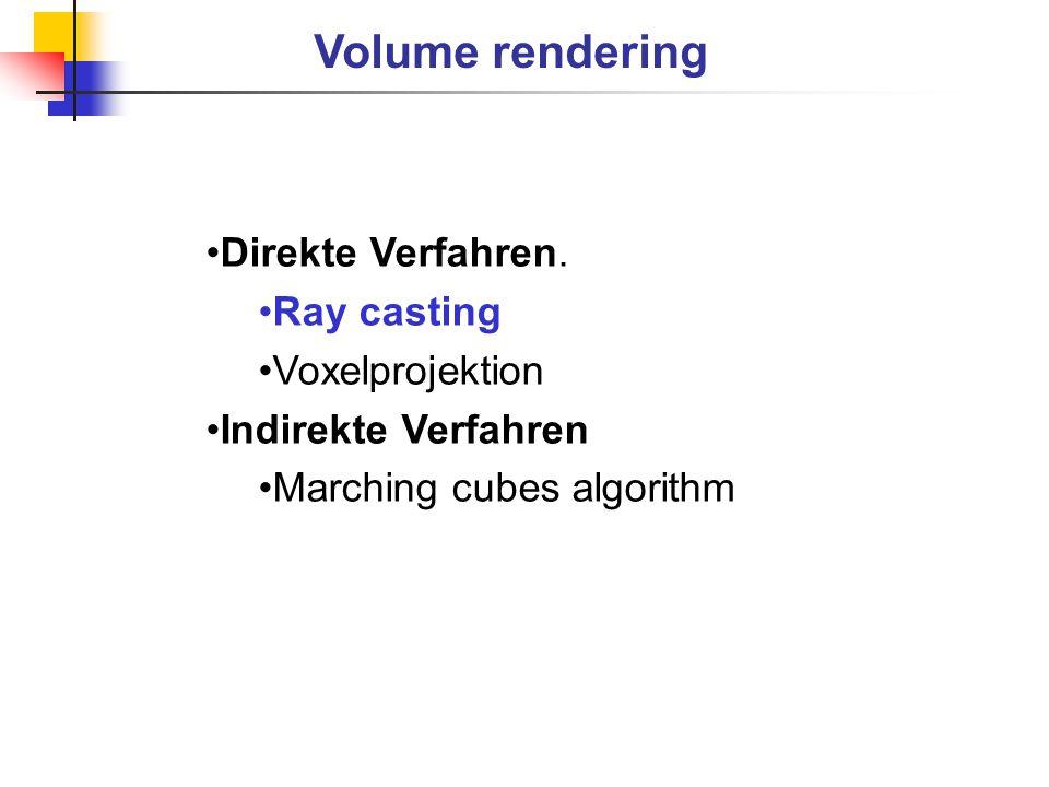 Image plane Strahl Körper i j k Ray casting algorithm Prinzipielle Aufbau Voxel Farbe C Opacity  (Lichtundurch- lässigkeitswert) Körper – Menge von Voxeln Voxel – Farbe & Opasity Körperrotation um beliebige räumliche Achsen Erzeugung der parallelen Strahlen Berechnung der Farbe entlang des Strahls Pixeln