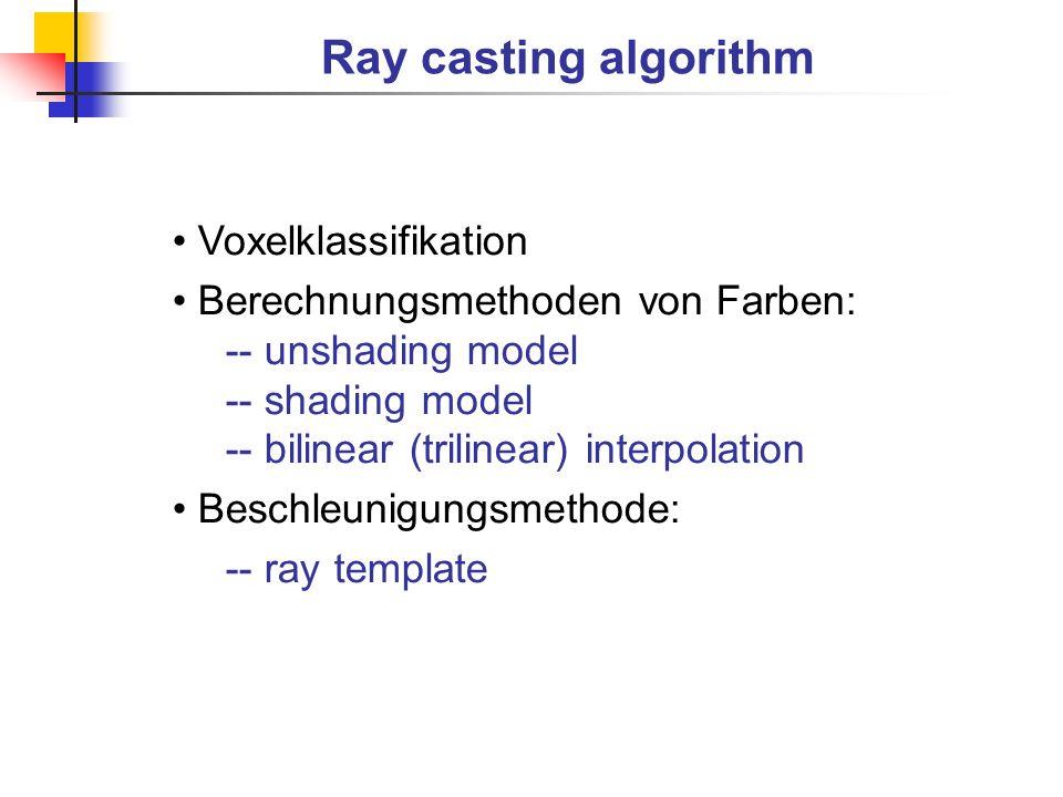 Ray casting algorithm Voxelklassifikation Berechnungsmethoden von Farben: -- unshading model -- shading model -- bilinear (trilinear) interpolation Be