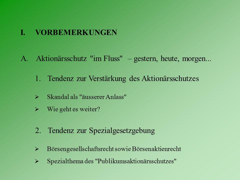 III.ZUM PUBLIKUMSAKTIONÄRSSCHUTZ A.Ausgangslage 3. Drei-Gestirn gemäss Börsenrecht  Meldepflicht (Art.