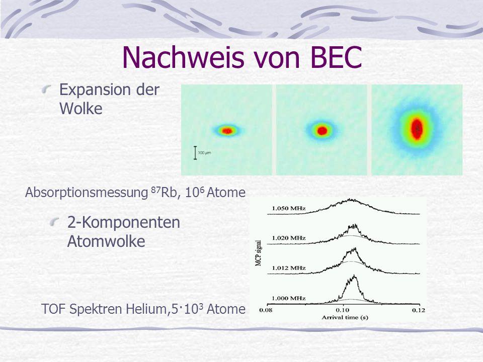 Nachweis von BEC Expansion der Wolke Absorptionsmessung 87 Rb, 10 6 Atome 2-Komponenten Atomwolke TOF Spektren Helium,5·10 3 Atome