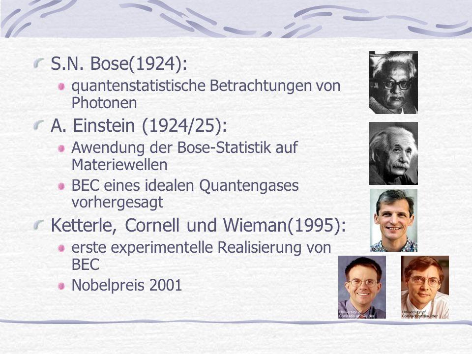 S.N. Bose(1924): quantenstatistische Betrachtungen von Photonen A. Einstein (1924/25): Awendung der Bose-Statistik auf Materiewellen BEC eines idealen