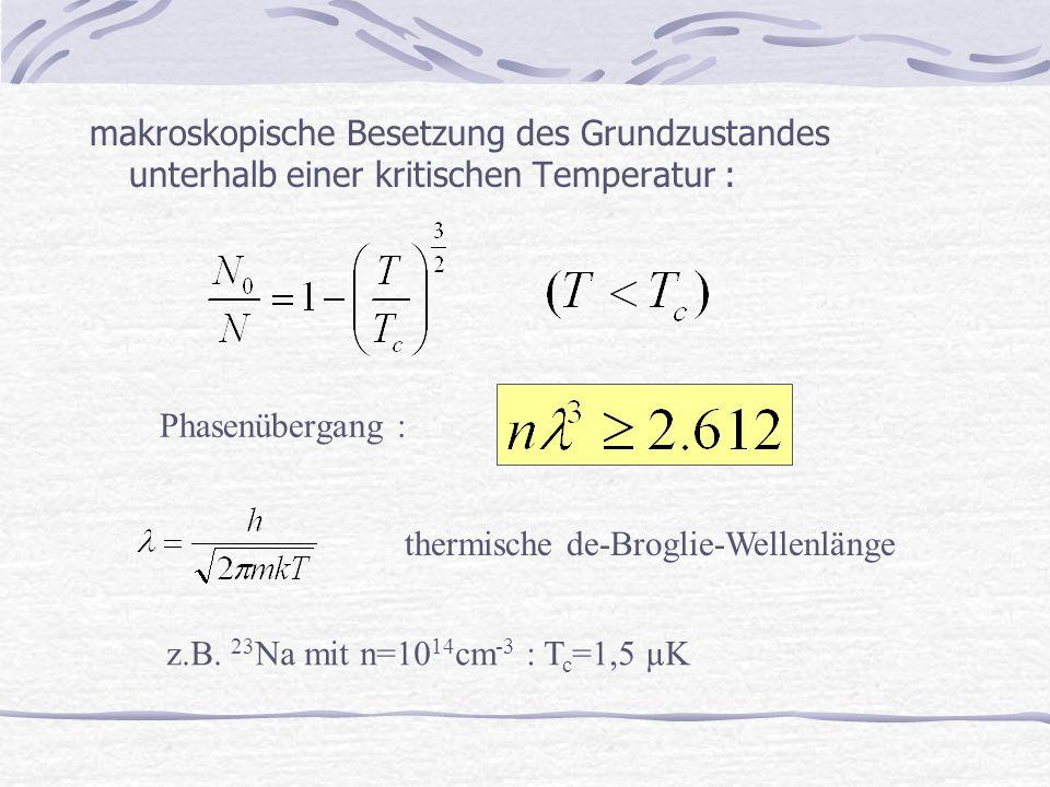 makroskopische Besetzung des Grundzustandes unterhalb einer kritischen Temperatur : thermische de-Broglie-Wellenlänge Phasenübergang : z.B. 23 Na mit