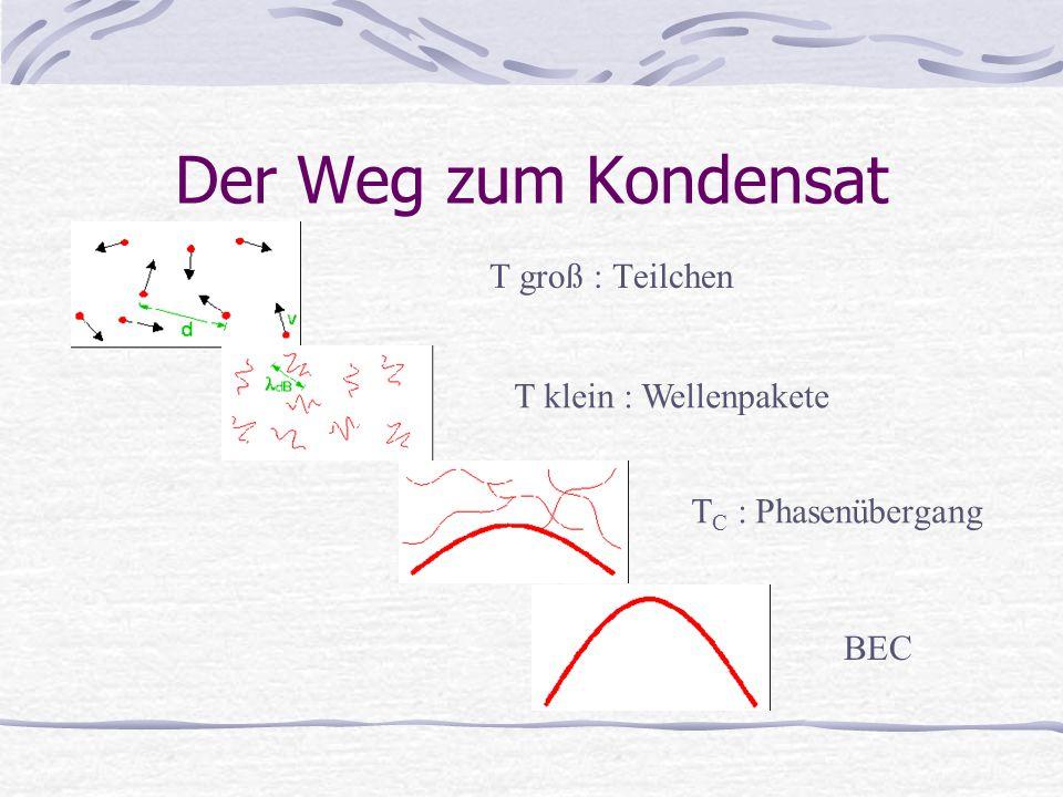 Der Weg zum Kondensat T groß : Teilchen T klein : Wellenpakete T C : Phasenübergang BEC