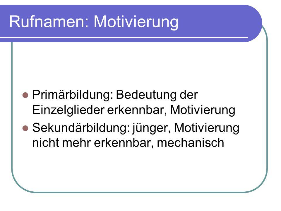 Rufnamen: Motivierung Primärbildung: Bedeutung der Einzelglieder erkennbar, Motivierung Sekundärbildung: jünger, Motivierung nicht mehr erkennbar, mec