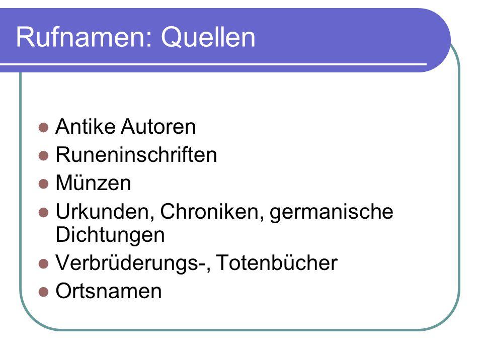 Rufnamen: Quellen Antike Autoren Runeninschriften Münzen Urkunden, Chroniken, germanische Dichtungen Verbrüderungs-, Totenbücher Ortsnamen