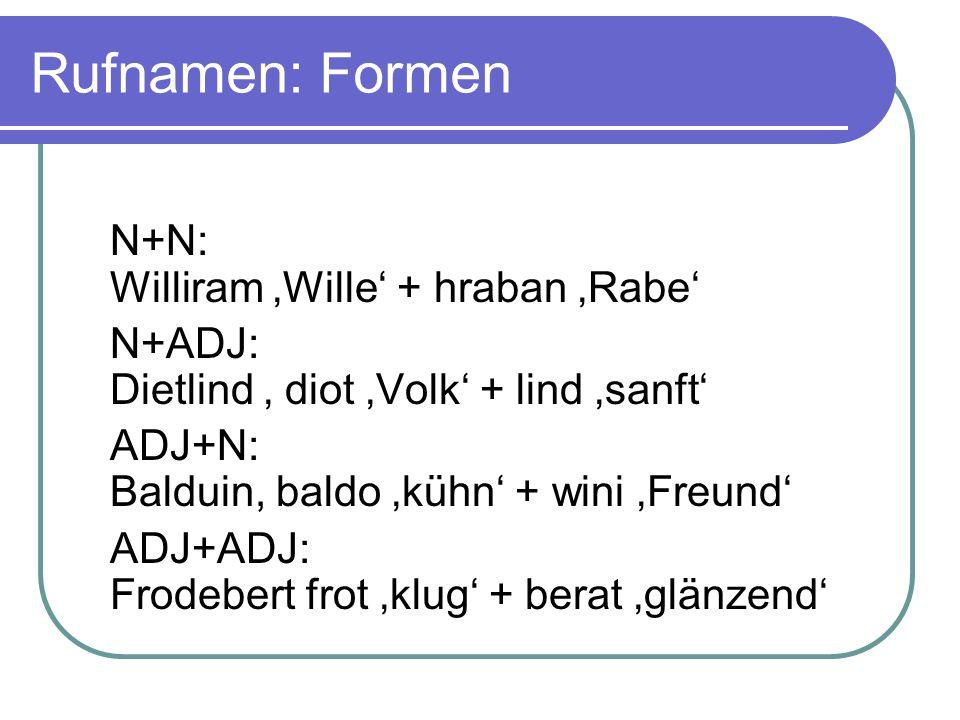 Rufnamen: Formen N+N: Williram 'Wille' + hraban 'Rabe' N+ADJ: Dietlind ' diot 'Volk' + lind 'sanft' ADJ+N: Balduin, baldo 'kühn' + wini 'Freund' ADJ+ADJ: Frodebert frot 'klug' + berat 'glänzend'