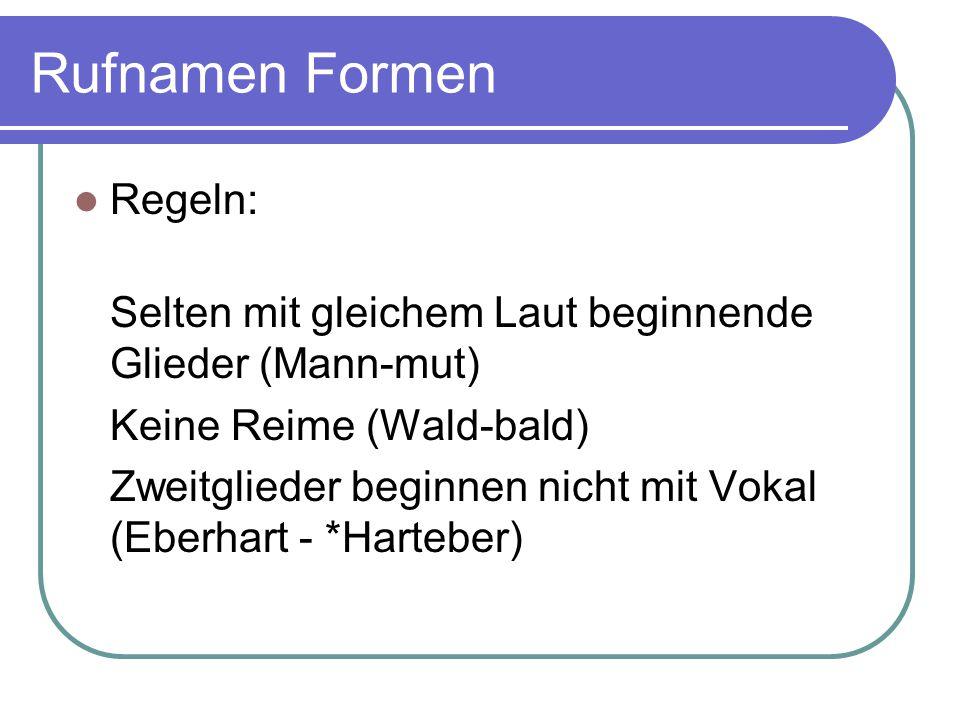Rufnamen Formen Regeln: Selten mit gleichem Laut beginnende Glieder (Mann-mut) Keine Reime (Wald-bald) Zweitglieder beginnen nicht mit Vokal (Eberhart