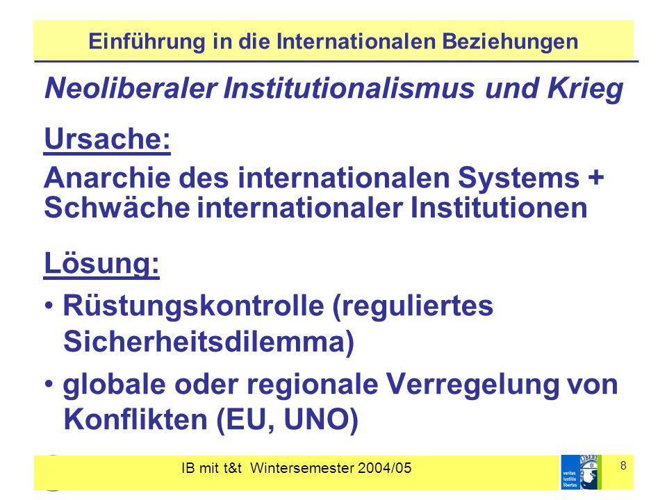 IB mit t&t Wintersemester 2004/05 8 Einführung in die Internationalen Beziehungen Neoliberaler Institutionalismus und Krieg Ursache: Anarchie des internationalen Systems + Schwäche internationaler Institutionen Lösung: Rüstungskontrolle (reguliertes Sicherheitsdilemma) globale oder regionale Verregelung von Konflikten (EU, UNO)