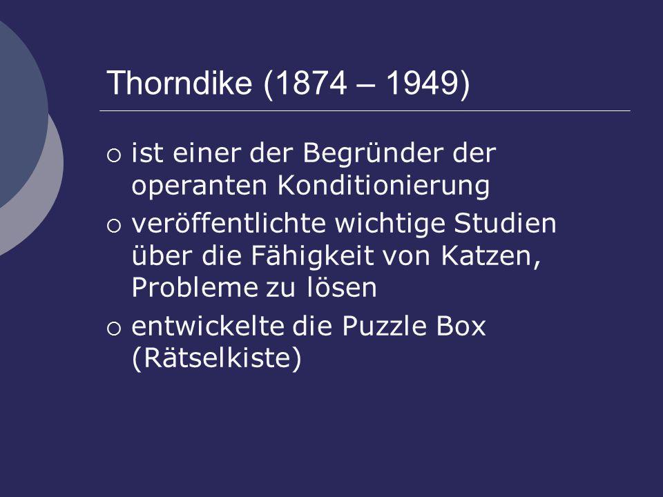 Thorndike (1874 – 1949)  ist einer der Begründer der operanten Konditionierung  veröffentlichte wichtige Studien über die Fähigkeit von Katzen, Probleme zu lösen  entwickelte die Puzzle Box (Rätselkiste)