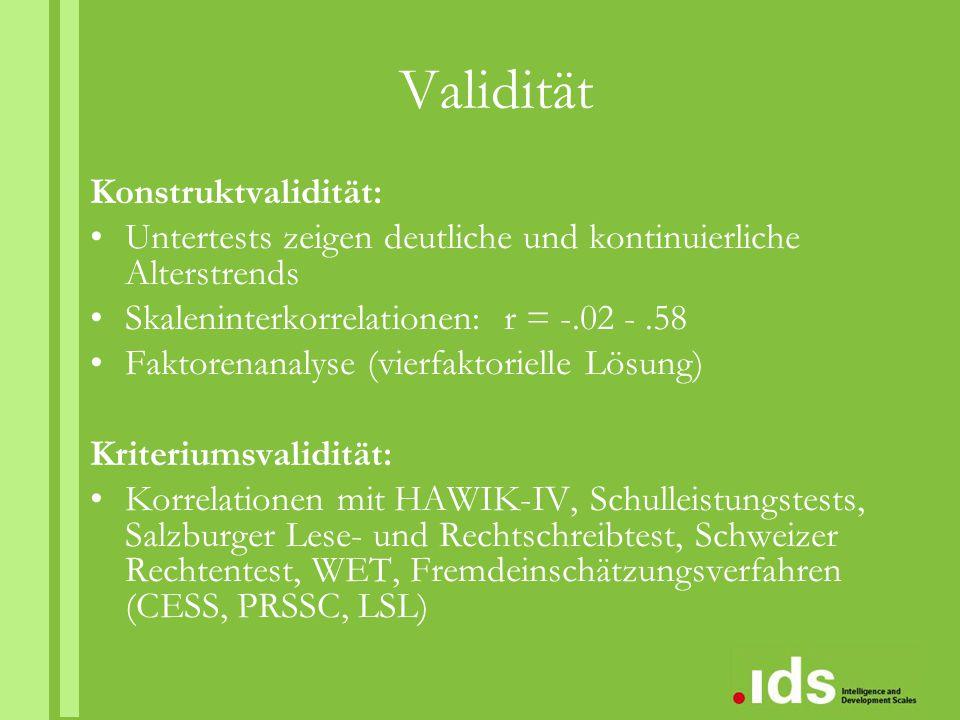 Validität Konstruktvalidität: Untertests zeigen deutliche und kontinuierliche Alterstrends Skaleninterkorrelationen: r = -.02 -.58 Faktorenanalyse (vi