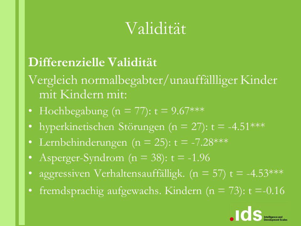 Validität Differenzielle Validität Vergleich normalbegabter/unauffällliger Kinder mit Kindern mit: Hochbegabung (n = 77): t = 9.67*** hyperkinetischen