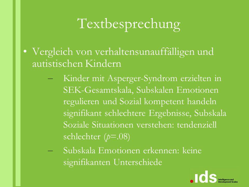 Textbesprechung Vergleich von verhaltensunauffälligen und autistischen Kindern – Kinder mit Asperger-Syndrom erzielten in SEK-Gesamtskala, Subskalen E