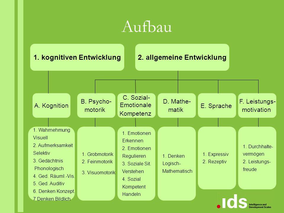 Aufbau 1. kognitiven Entwicklung2. allgemeine Entwicklung A. Kognition B. Psycho- motorik C. Sozial- Emotionale Kompetenz D. Mathe- matik E. Sprache F