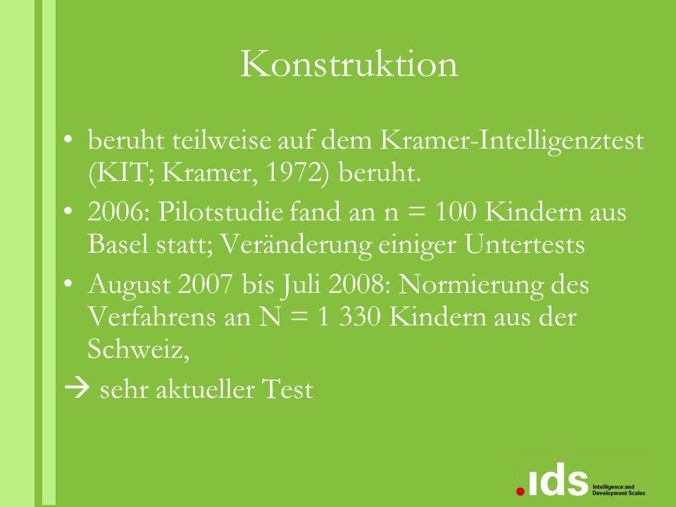 Konstruktion beruht teilweise auf dem Kramer-Intelligenztest (KIT; Kramer, 1972) beruht. 2006: Pilotstudie fand an n = 100 Kindern aus Basel statt; Ve