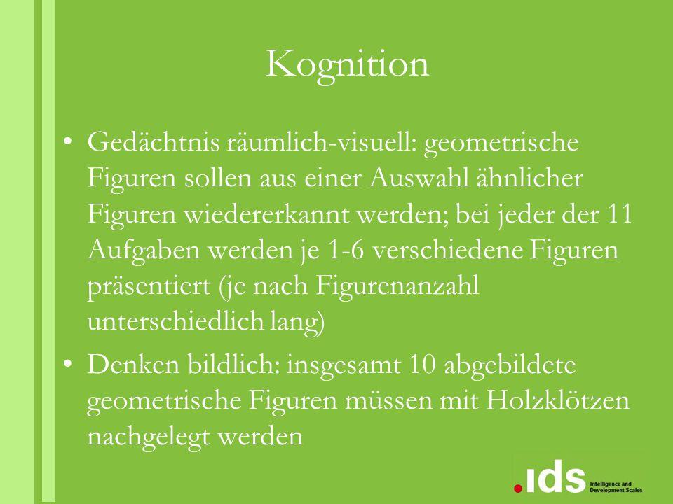 Validität Konstruktvalidität: Untertests zeigen deutliche und kontinuierliche Alterstrends Skaleninterkorrelationen: r = -.02 -.58 Faktorenanalyse (vierfaktorielle Lösung) Kriteriumsvalidität: Korrelationen mit HAWIK-IV, Schulleistungstests, Salzburger Lese- und Rechtschreibtest, Schweizer Rechtentest, WET, Fremdeinschätzungsverfahren (CESS, PRSSC, LSL)