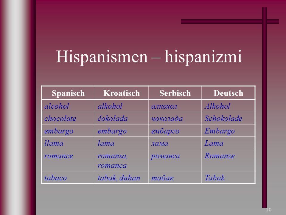 10 Hispanismen – hispanizmi SpanischKroatischSerbischDeutsch alcoholalkoholалкохолAlkohol chocolatečokoladaчоколадаSchokolade embargo ембаргоEmbargo l