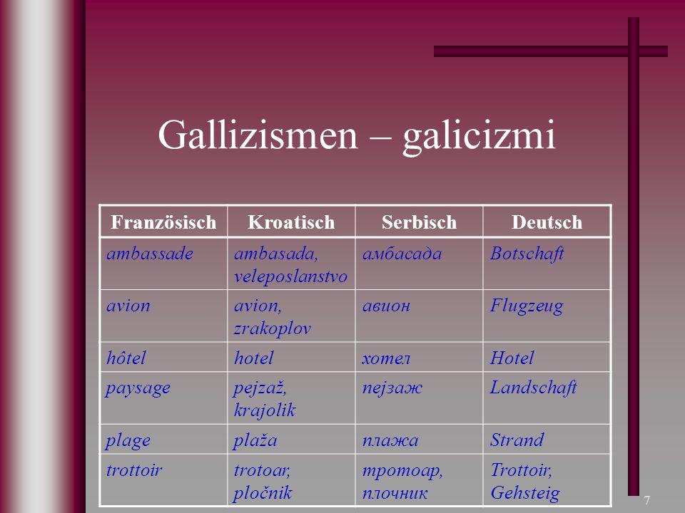 7 Gallizismen – galicizmi FranzösischKroatischSerbischDeutsch ambassadeambasada, veleposlanstvo амбасадаBotschaft avionavion, zrakoplov авионFlugzeug