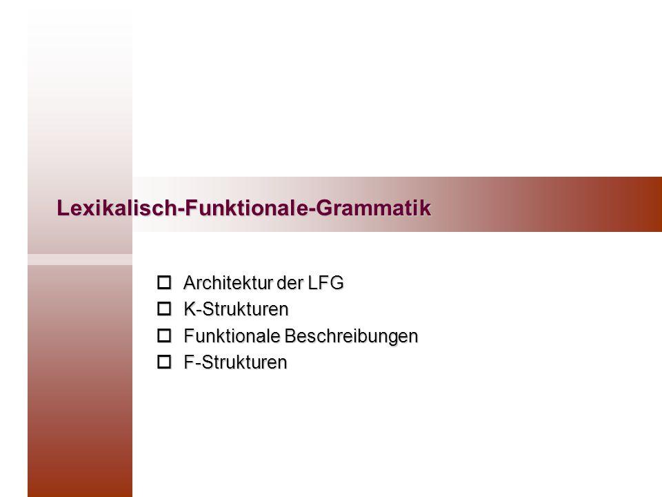 Architektur der LFG Grammatik Erweiterte PSG K-Strukturen F-Strukturen phonologische Interpretation semantische Interpretation phonologischeRepräsentation semantischeRepräsentation GrammatikLexikonLexikonregeln