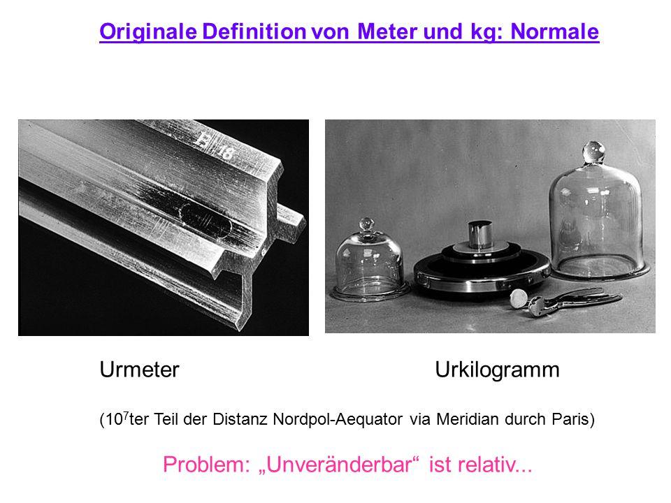 """Originale Definition von Meter und kg: Normale Urmeter Urkilogramm (10 7 ter Teil der Distanz Nordpol-Aequator via Meridian durch Paris) Problem: """"Unv"""