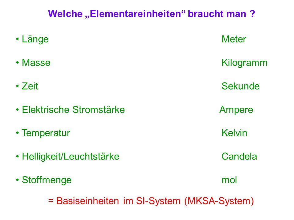 """Welche """"Elementareinheiten"""" braucht man ? LängeMeter MasseKilogramm ZeitSekunde Elektrische Stromstärke Ampere TemperaturKelvin Helligkeit/Leuchtstärk"""