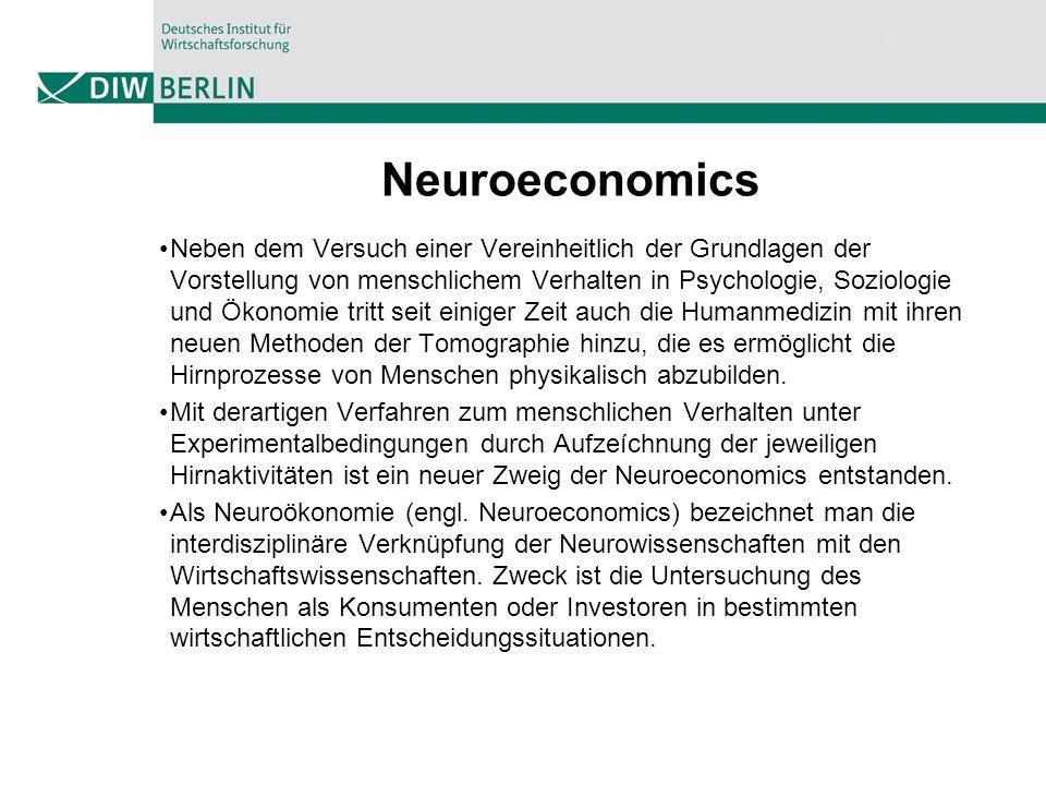 Neuroeconomics Neben dem Versuch einer Vereinheitlich der Grundlagen der Vorstellung von menschlichem Verhalten in Psychologie, Soziologie und Ökonomi