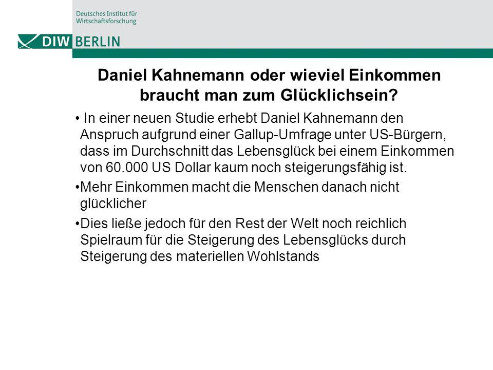 Daniel Kahnemann oder wieviel Einkommen braucht man zum Glücklichsein? In einer neuen Studie erhebt Daniel Kahnemann den Anspruch aufgrund einer Gallu