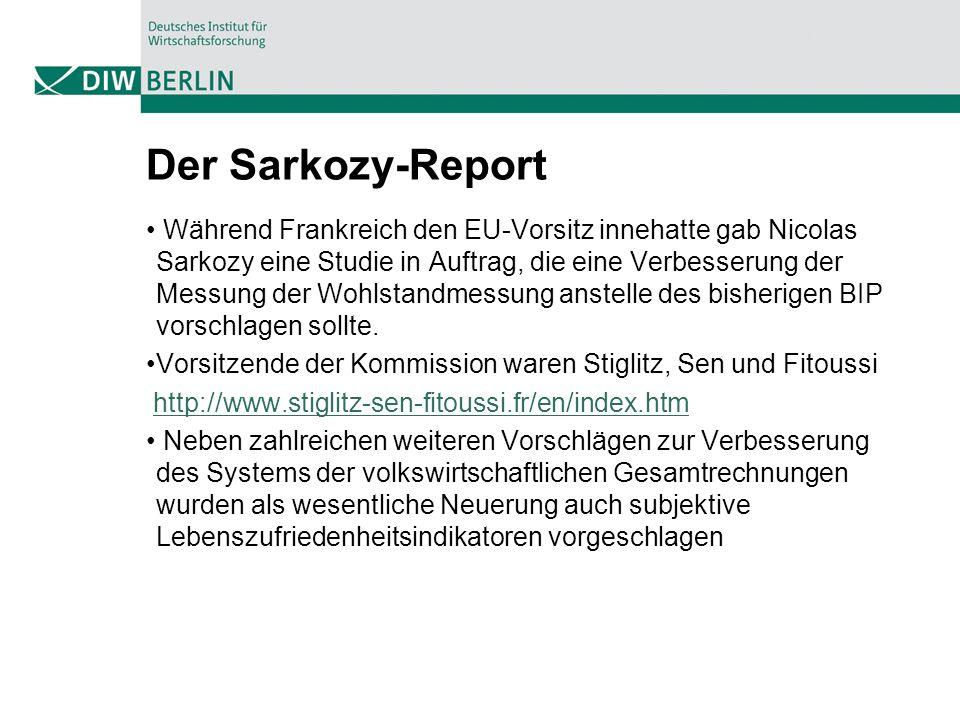 Der Sarkozy-Report Während Frankreich den EU-Vorsitz innehatte gab Nicolas Sarkozy eine Studie in Auftrag, die eine Verbesserung der Messung der Wohls