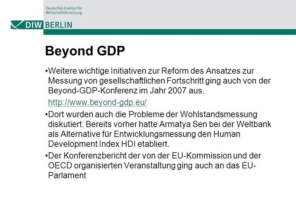 Beyond GDP Weitere wichtige Initiativen zur Reform des Ansatzes zur Messung von gesellschaftlichen Fortschritt ging auch von der Beyond-GDP-Konferenz