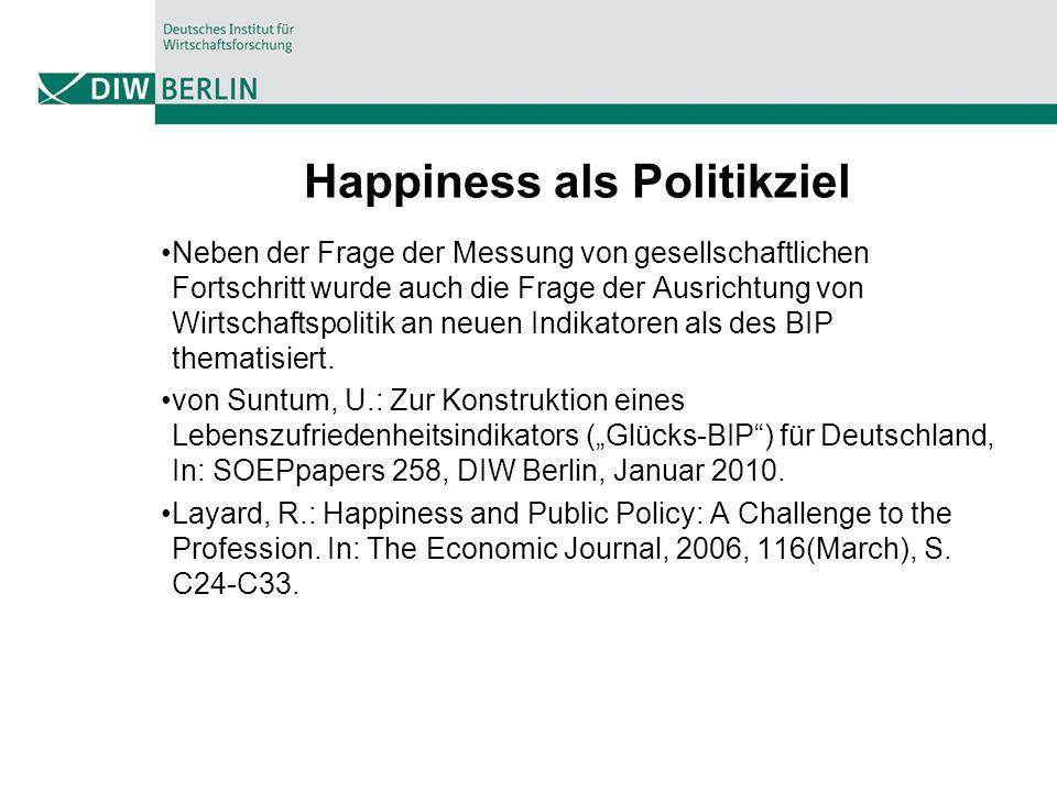 Happiness als Politikziel Neben der Frage der Messung von gesellschaftlichen Fortschritt wurde auch die Frage der Ausrichtung von Wirtschaftspolitik a