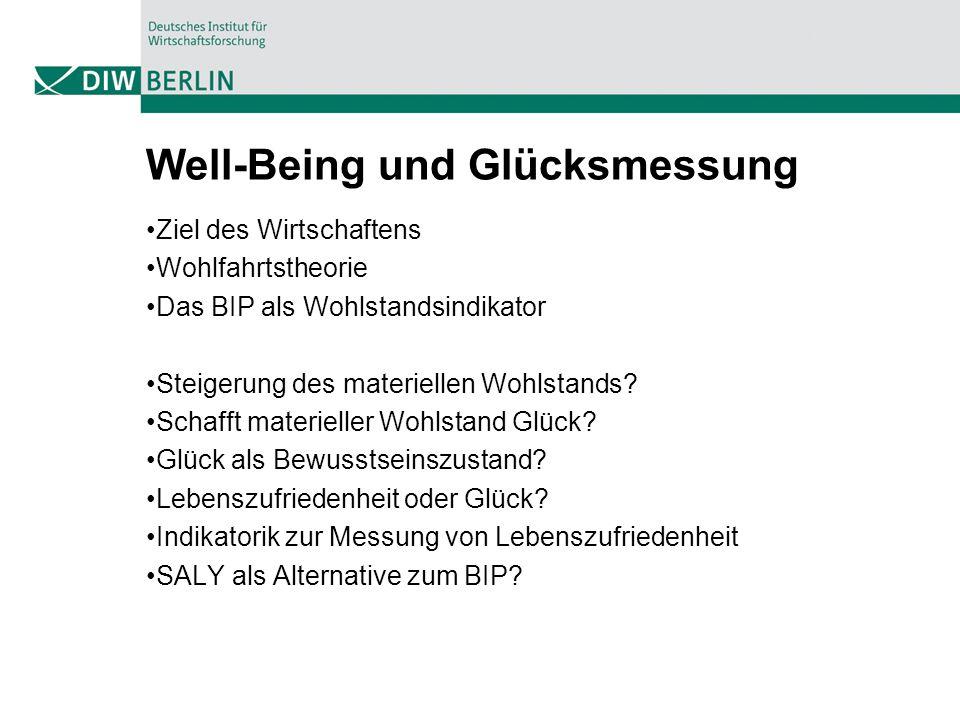 Well-Being und Glücksmessung Ziel des Wirtschaftens Wohlfahrtstheorie Das BIP als Wohlstandsindikator Steigerung des materiellen Wohlstands? Schafft m