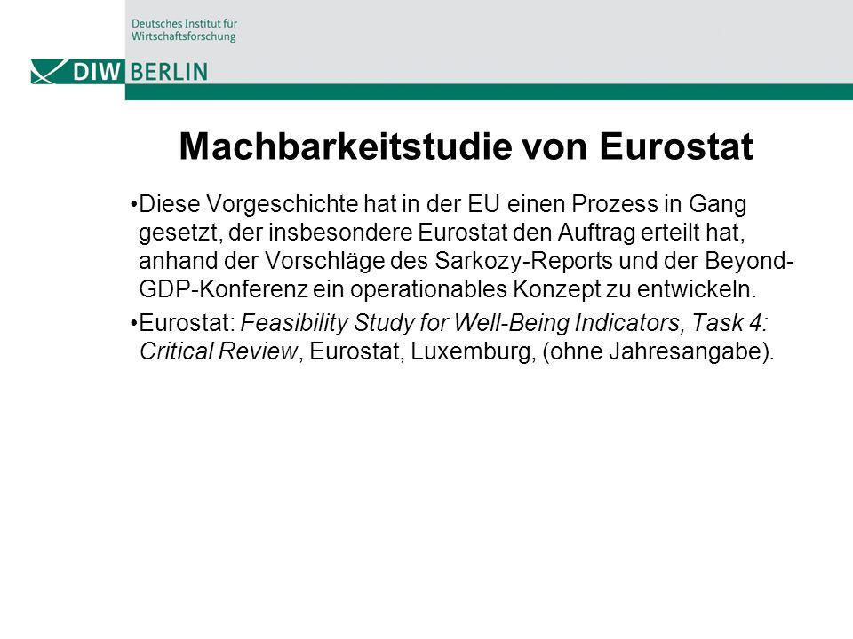 Machbarkeitstudie von Eurostat Diese Vorgeschichte hat in der EU einen Prozess in Gang gesetzt, der insbesondere Eurostat den Auftrag erteilt hat, anh