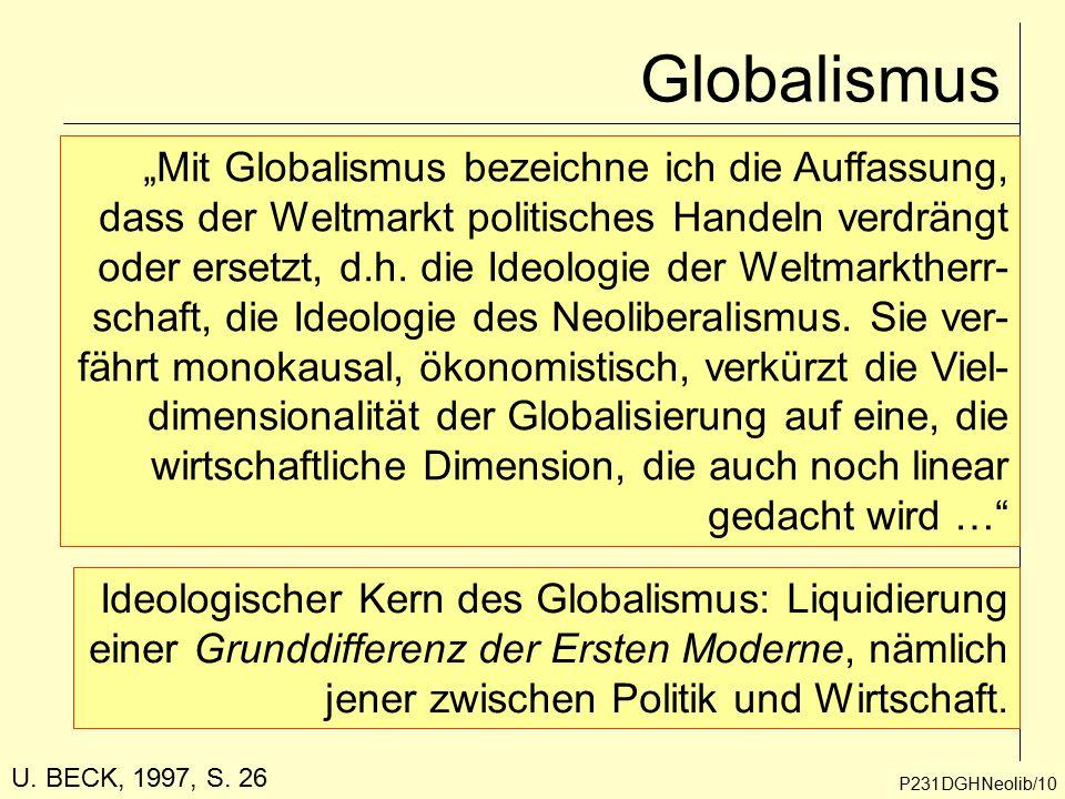 """Globalismus P231DGHNeolib/10 """"Mit Globalismus bezeichne ich die Auffassung, dass der Weltmarkt politisches Handeln verdrängt oder ersetzt, d.h. die Id"""