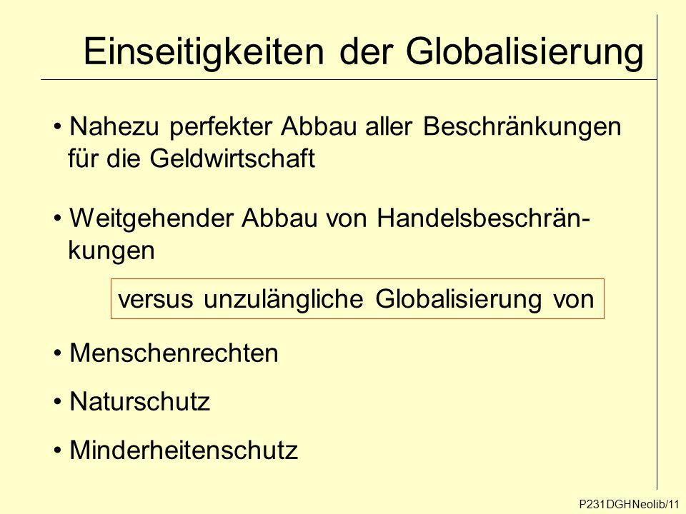 Einseitigkeiten der Globalisierung P231DGHNeolib/11 Nahezu perfekter Abbau aller Beschränkungen für die Geldwirtschaft Weitgehender Abbau von Handelsb
