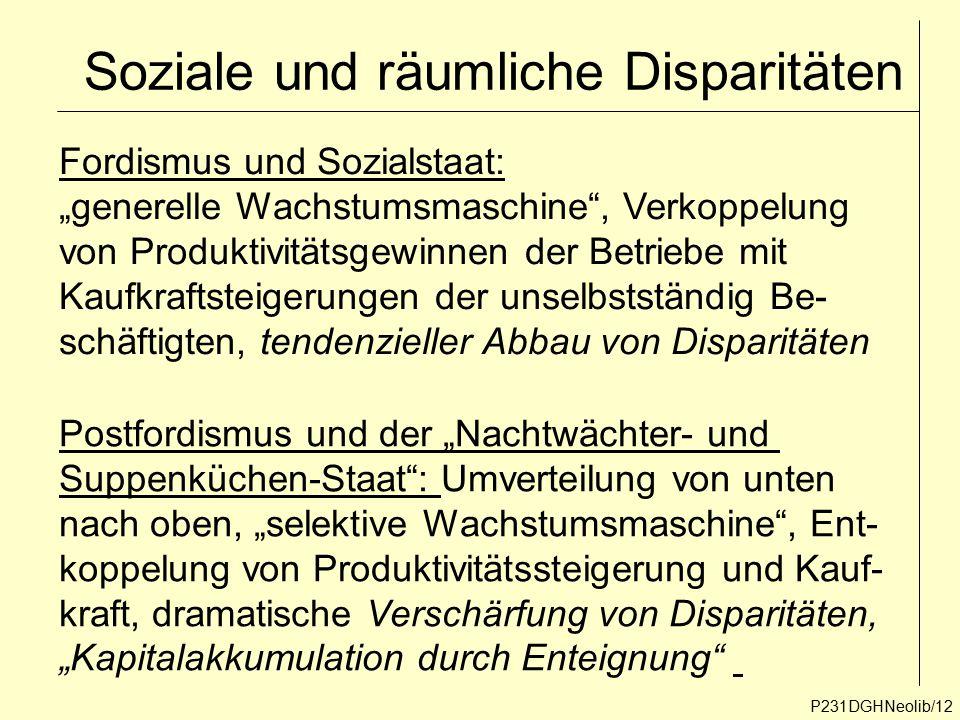 """Soziale und räumliche Disparitäten P231DGHNeolib/12 Fordismus und Sozialstaat: """"generelle Wachstumsmaschine"""", Verkoppelung von Produktivitätsgewinnen"""