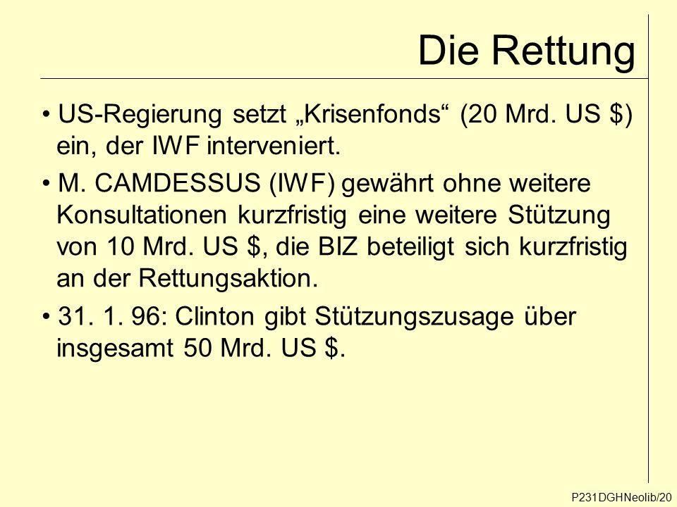 """Die Rettung P231DGHNeolib/20 US-Regierung setzt """"Krisenfonds"""" (20 Mrd. US $) ein, der IWF interveniert. M. CAMDESSUS (IWF) gewährt ohne weitere Konsul"""