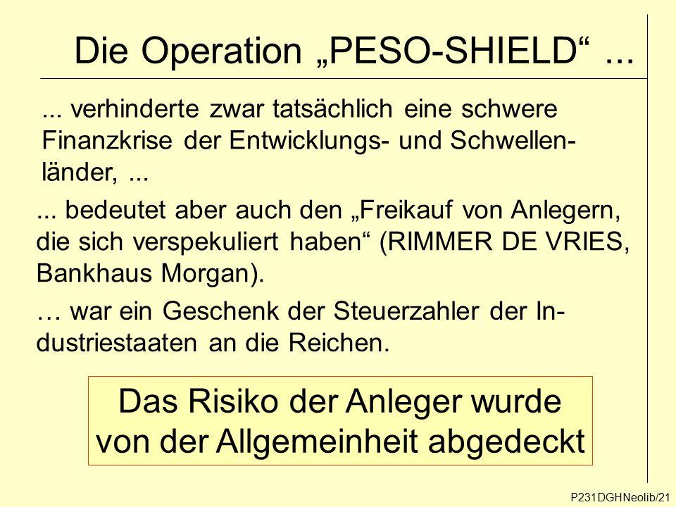 """P231DGHNeolib/21 Die Operation """"PESO-SHIELD""""...... verhinderte zwar tatsächlich eine schwere Finanzkrise der Entwicklungs- und Schwellen- länder,....."""