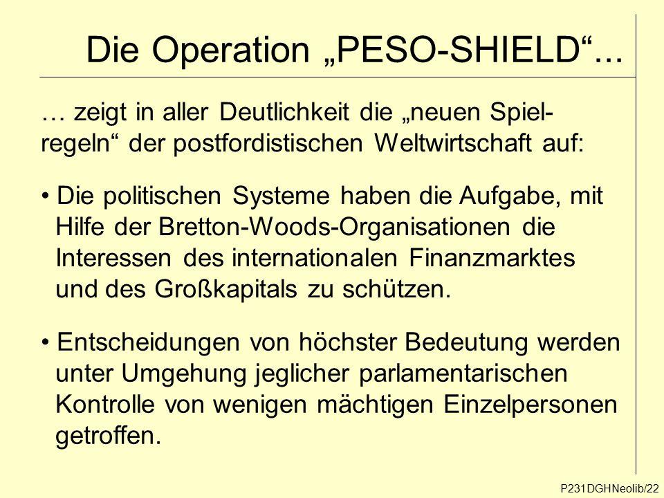 """Die Operation """"PESO-SHIELD""""... P231DGHNeolib/22 … zeigt in aller Deutlichkeit die """"neuen Spiel- regeln"""" der postfordistischen Weltwirtschaft auf: Die"""