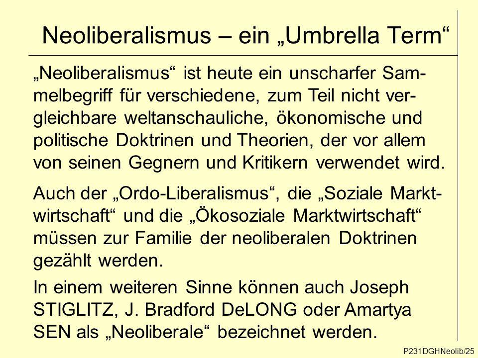 """Neoliberalismus – ein """"Umbrella Term"""" P231DGHNeolib/25 """"Neoliberalismus"""" ist heute ein unscharfer Sam- melbegriff für verschiedene, zum Teil nicht ver"""