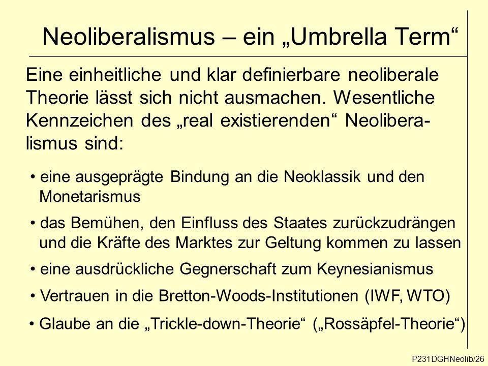 """P231DGHNeolib/26 Eine einheitliche und klar definierbare neoliberale Theorie lässt sich nicht ausmachen. Wesentliche Kennzeichen des """"real existierend"""