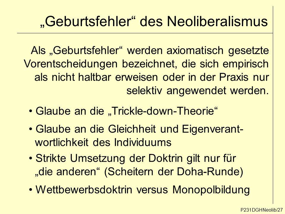 """""""Geburtsfehler"""" des Neoliberalismus P231DGHNeolib/27 Als """"Geburtsfehler"""" werden axiomatisch gesetzte Vorentscheidungen bezeichnet, die sich empirisch"""