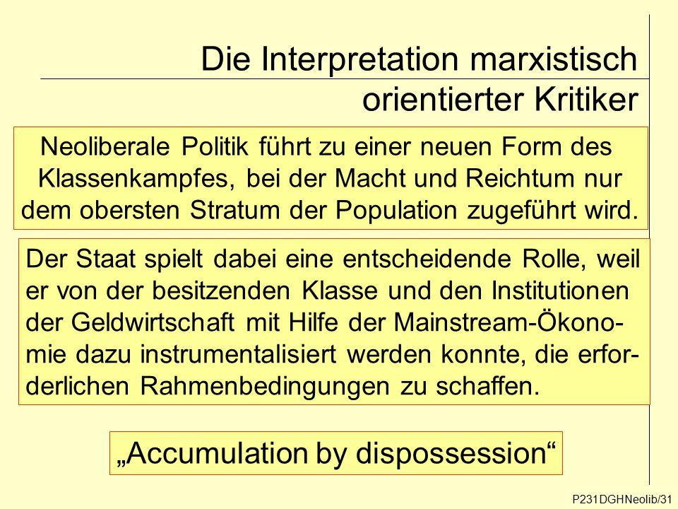 Die Interpretation marxistisch orientierter Kritiker P231DGHNeolib/31 Neoliberale Politik führt zu einer neuen Form des Klassenkampfes, bei der Macht