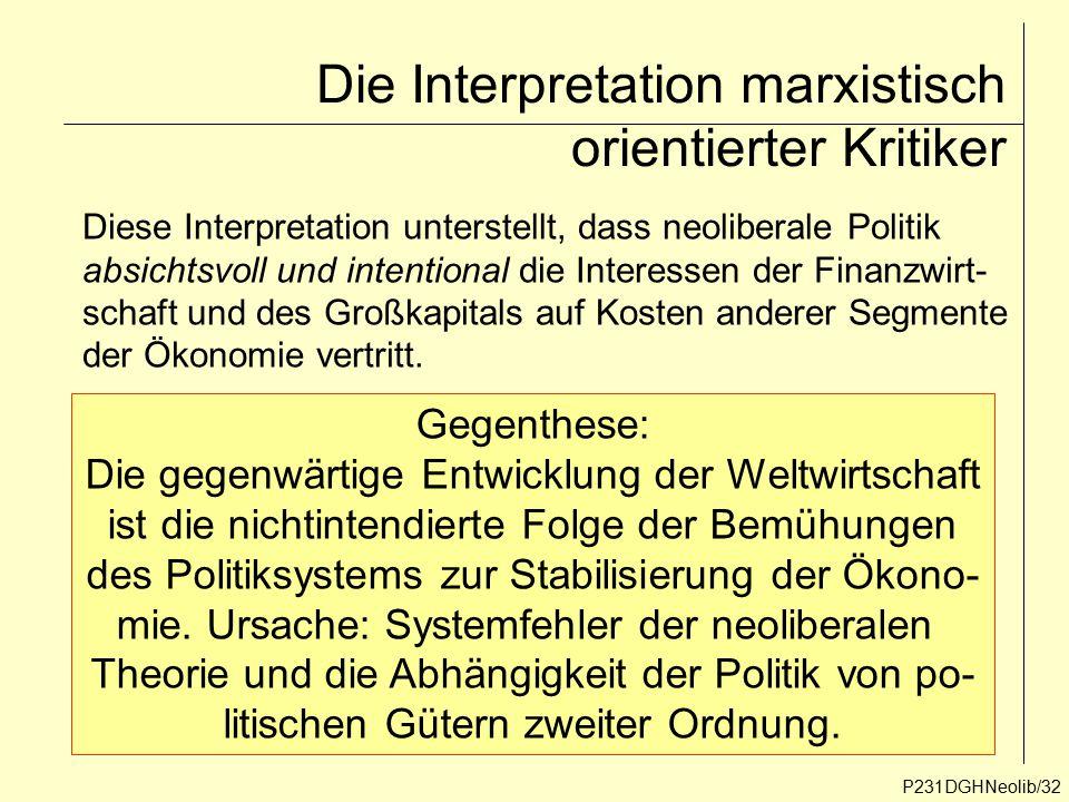 P231DGHNeolib/32 Die Interpretation marxistisch orientierter Kritiker Diese Interpretation unterstellt, dass neoliberale Politik absichtsvoll und inte