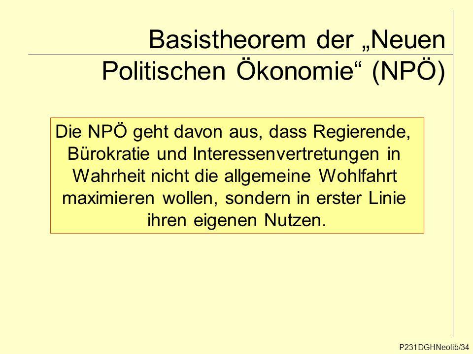 """Basistheorem der """"Neuen Politischen Ökonomie"""" (NPÖ) P231DGHNeolib/34 Die NPÖ geht davon aus, dass Regierende, Bürokratie und Interessenvertretungen in"""