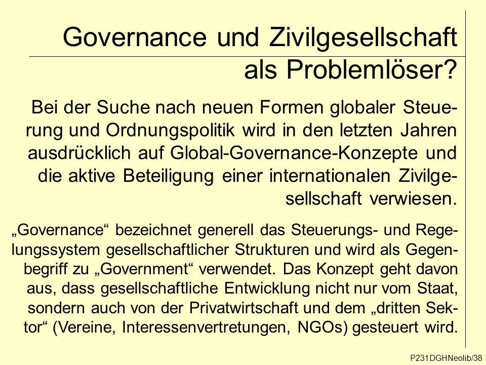 Governance und Zivilgesellschaft als Problemlöser? P231DGHNeolib/38 Bei der Suche nach neuen Formen globaler Steue- rung und Ordnungspolitik wird in d