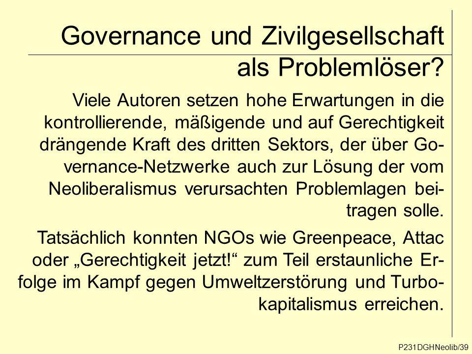 P231DGHNeolib/39 Governance und Zivilgesellschaft als Problemlöser? Viele Autoren setzen hohe Erwartungen in die kontrollierende, mäßigende und auf Ge
