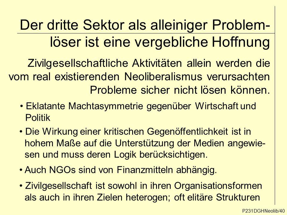 Der dritte Sektor als alleiniger Problem- löser ist eine vergebliche Hoffnung P231DGHNeolib/40 Zivilgesellschaftliche Aktivitäten allein werden die vo