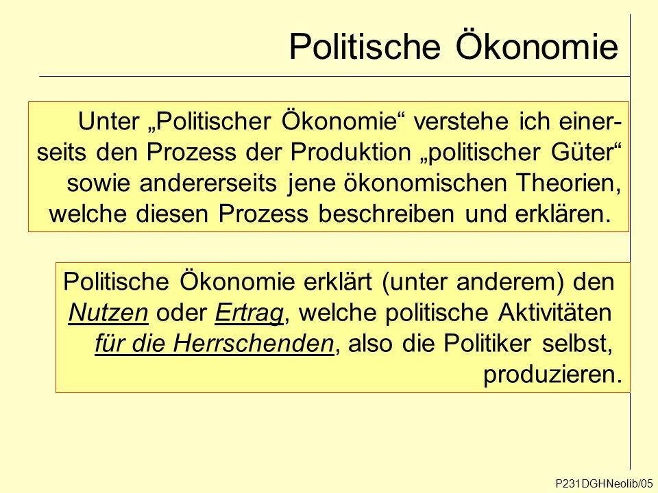 Politische Ökonomie P231DGHNeolib/05 Politische Ökonomie erklärt (unter anderem) den Nutzen oder Ertrag, welche politische Aktivitäten für die Herrsch