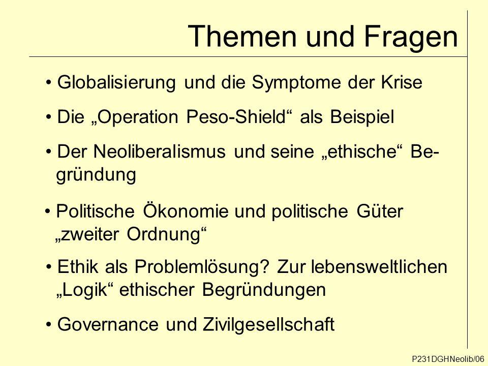 """Themen und Fragen P231DGHNeolib/06 Globalisierung und die Symptome der Krise Der Neoliberalismus und seine """"ethische"""" Be- gründung Ethik als Problemlö"""