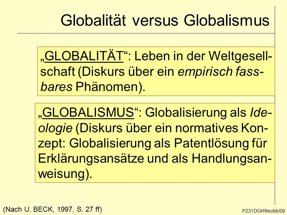 """Globalität versus Globalismus P231DGHNeolib/09 """"GLOBALITÄT"""": Leben in der Weltgesell- schaft (Diskurs über ein empirisch fass- bares Phänomen). """"GLOBA"""